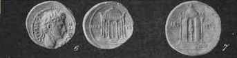 Black and white photograph of a Roman coin with the head of Augustus with a temple on the obverse.
