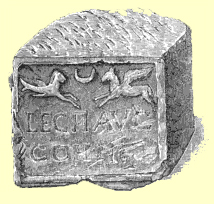 Black and white engraving of a stone block with a carved relief of a sea-goat and a horse, and a legionary inscription, from the Blackgate Museum at Newcastle-Upon-Tyne.