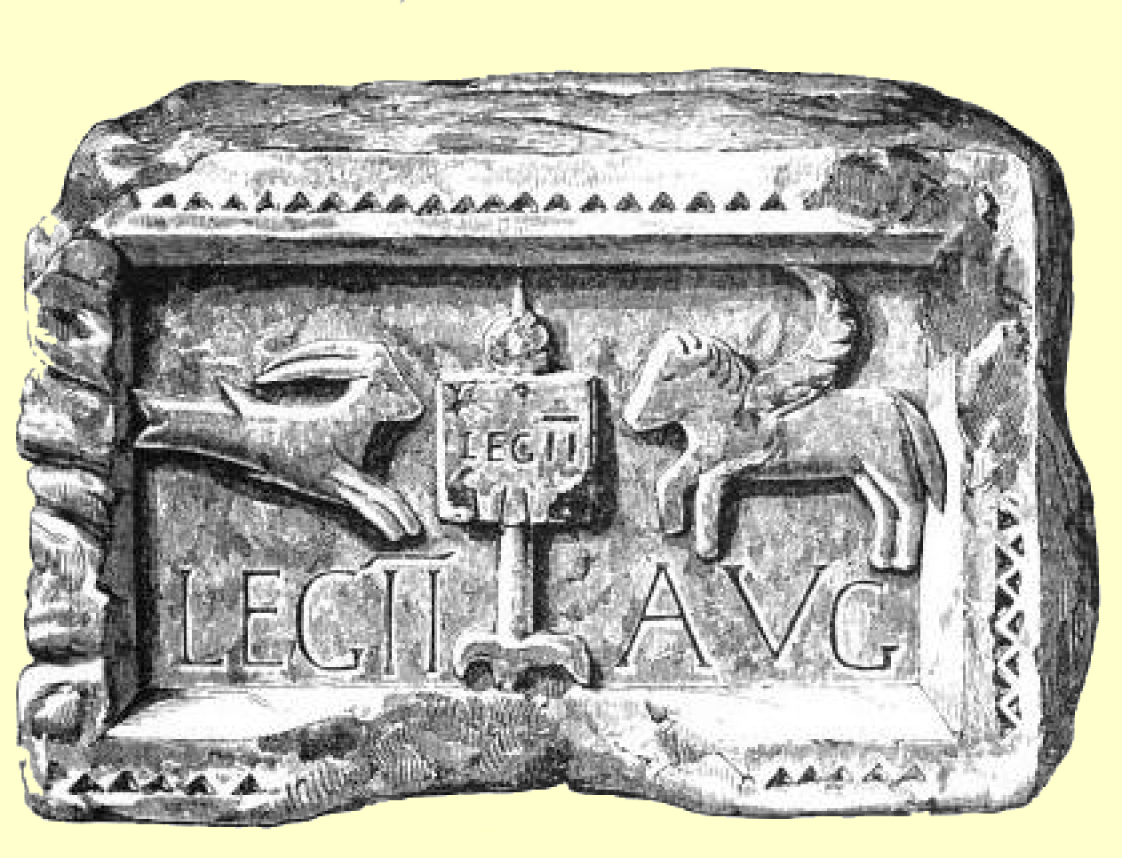 Black and white engraving of a stone block with a carved relief of a sea-goat and a horse, and an inscription, with a banner of the Legion II Augusta.