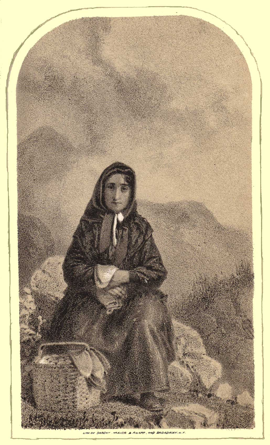 Ambrotype of an Acadian matron, retouched by Sarony in dark clothes seated on a rock with a basket at her feet.  Mountains are in the background.