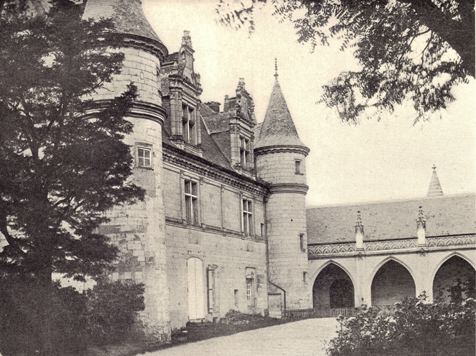 Black and white photograph of Château d'Amboise, France, twelfth century on a treeless landscape, taken in the late 19th century.