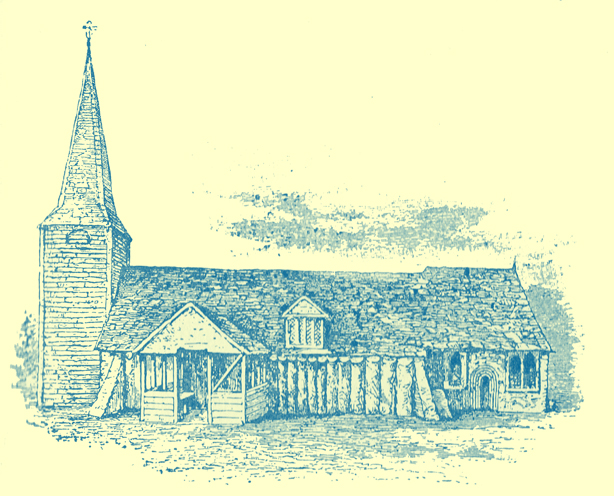 A black and white engraving of the Anglo-Saxon wooden church at Greenstead.