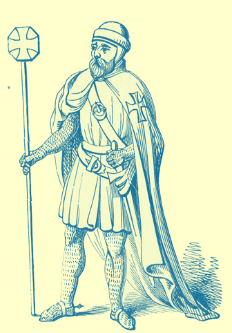 A black and white engraving of a Knight Templar.