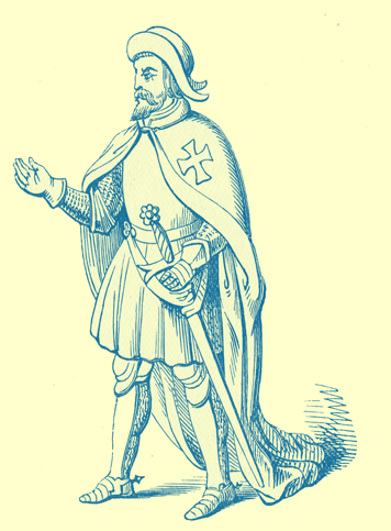 A black and white engraving of a Knight Hospitaller with a cloak bearing a Maltese cross.