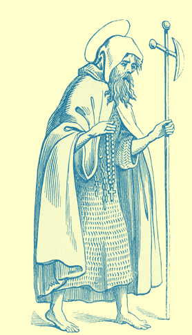 A black and white engraving of a bearded pilgrim in a hair shirt with a cloak, carrying a staff.