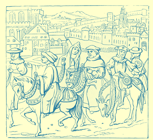 A black and white engraving of a group of medieval pilgrims on horseback, with a town in the background.