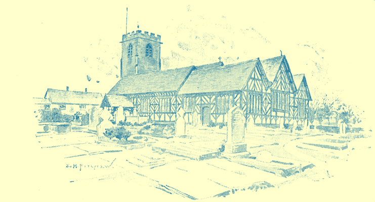 A black and white engraving of the plaster and lath church at Lower Peover.