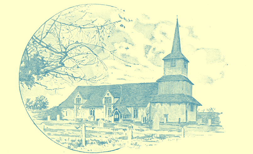 A black and white engraving of the Wooden Blackmore Church in Essex, England.