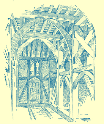 A black and white engraving of the interior timber work of the tower of Margaretting Church.
