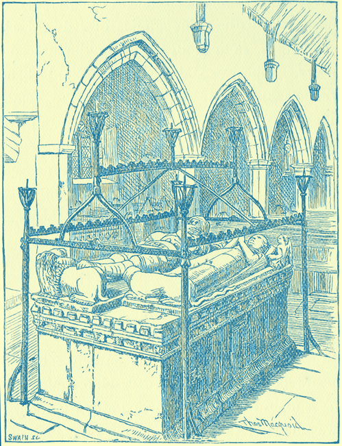 A black and white engraving of the herse at the Marmion Tomb, Tansfield.