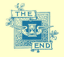 A black and white engraving of the press logo saying 'The End.'