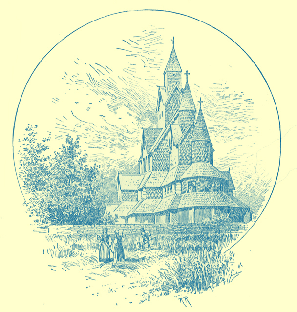 A black and white engraving of the whimsical wooden stave kirk of Hitterdal, Norway.