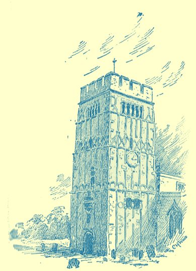 A black and white engraving of the church tower of stone that looks like it was made of wood, at Earl's Barton, Northamptonshire.