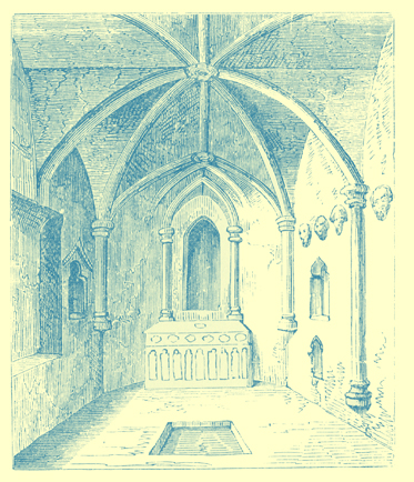 A black and white engraving of the interior of St. Robertଁs Chapel, Knaresborough.  It is built into a hill.