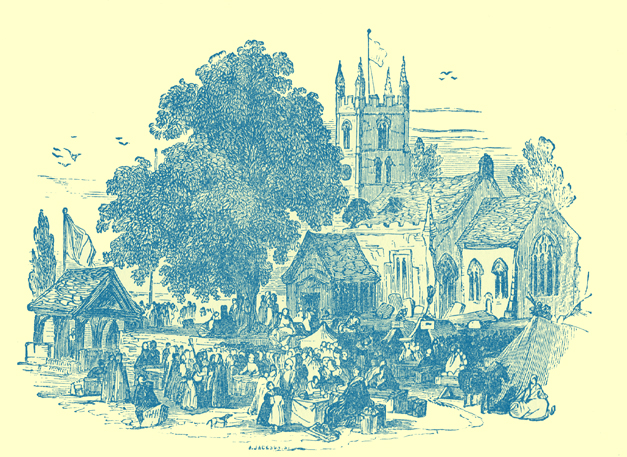 A black and white engraving of a church wake, at Welford, Warwickshire, with a church and houses in the background, and people and a few tents in the foreground.