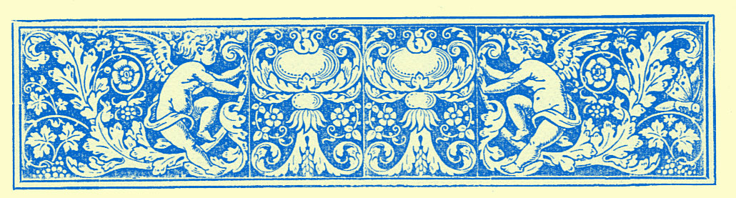 stylized border engraving of cherubs and interlacing vines