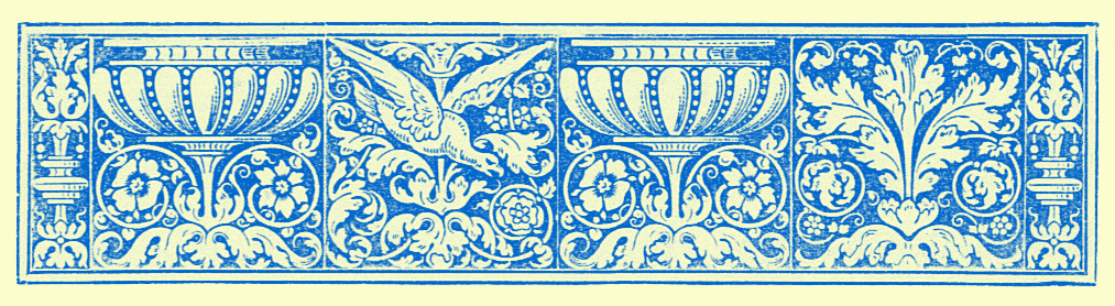 stylized border engraving of birds, vases, and interlacing vines