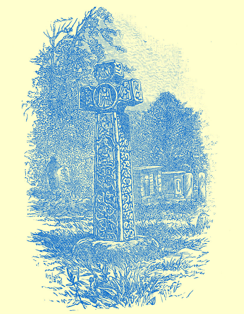 An engraving of a large stone cross in a church-yard, with engravings all around.  Trees and smaller funeral monuments are in the background.