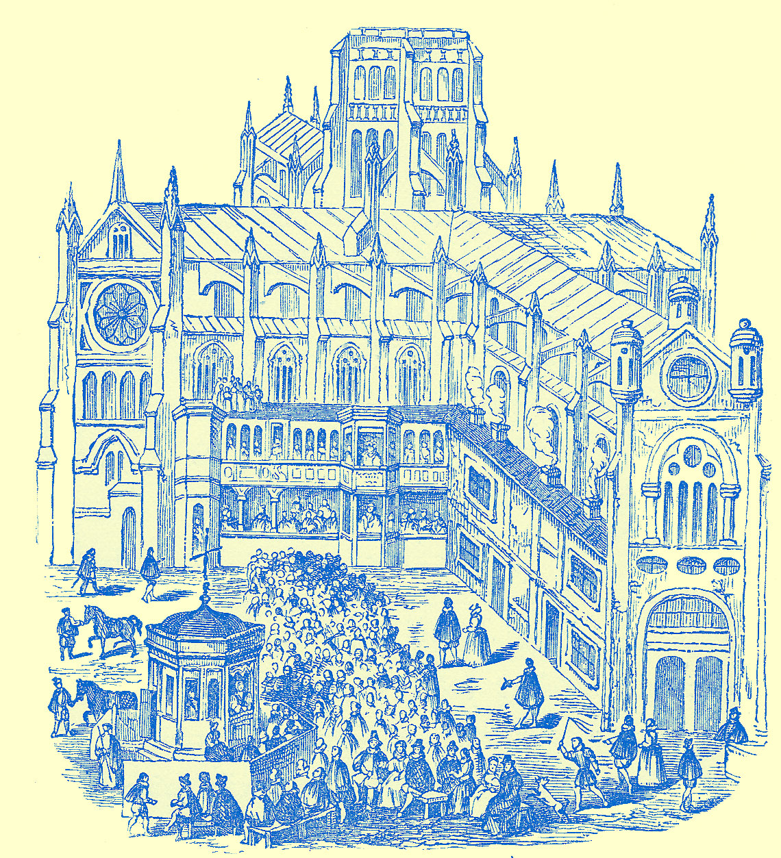 An Engraving of a large cathedral, two wings are shown and at their intersection is a square with a small building with a cupola in the middle.  Around it are many people, on the wings are boxes in two rows containing people. See description in text.