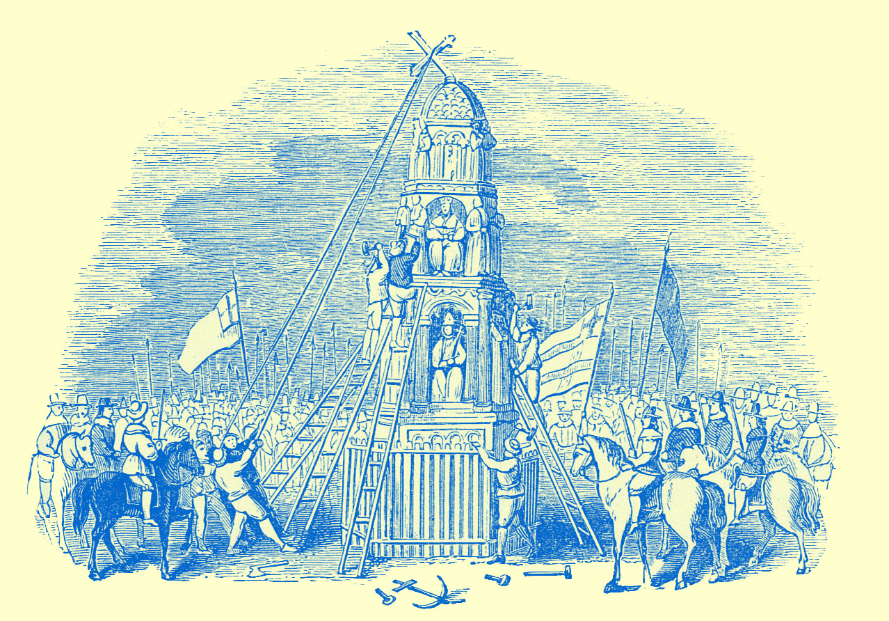 An engraving of a large monument, with people on foot and on horseback, pulling at ropes tied to the cross on the top if it.  People are on ladders leaning against it.  Flags abound, and some tools lie in the foreground.