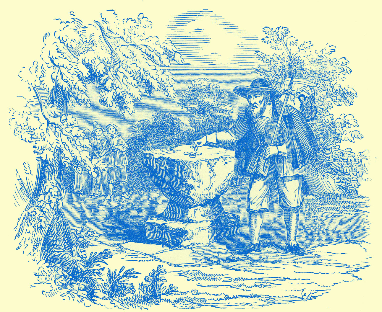 A Large Stone on a Pedestal with a few coins on it.  A man is reaching for it, who is holding a knapsack on a stick which is resting over his other shoulder.  This is surrounded by some trees, and a in the background are  two people at a distance watching him.