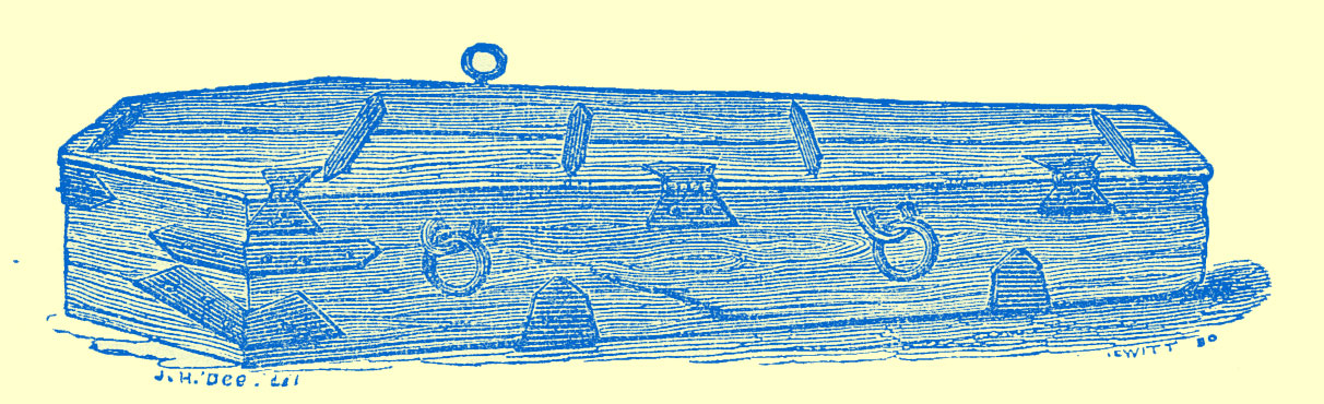 Engraving from a drawing by J. H. Doe, of a coffin of wood with metal hinges and two sets of rings attached on the sides, [for ropes?].