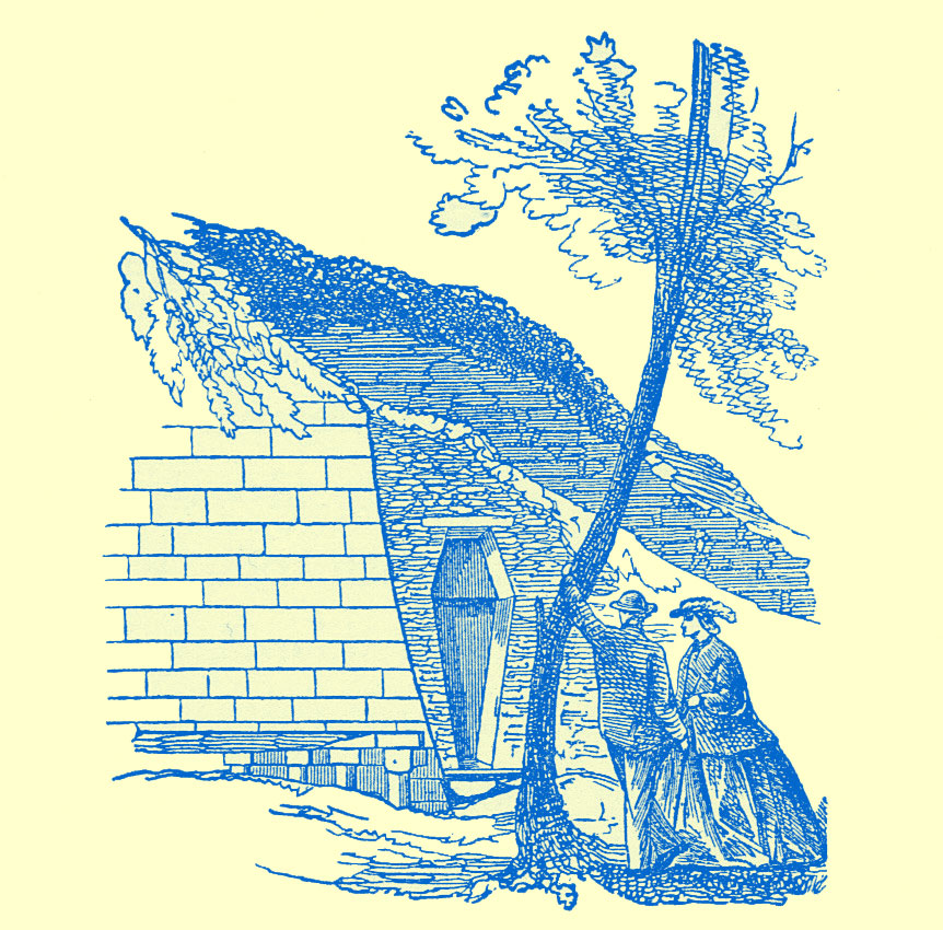 Engraving of a coffin-shaped indention in a wall of a brick structure against/in a hill. A tree is in the foreground with a man and a woman looking at it.
