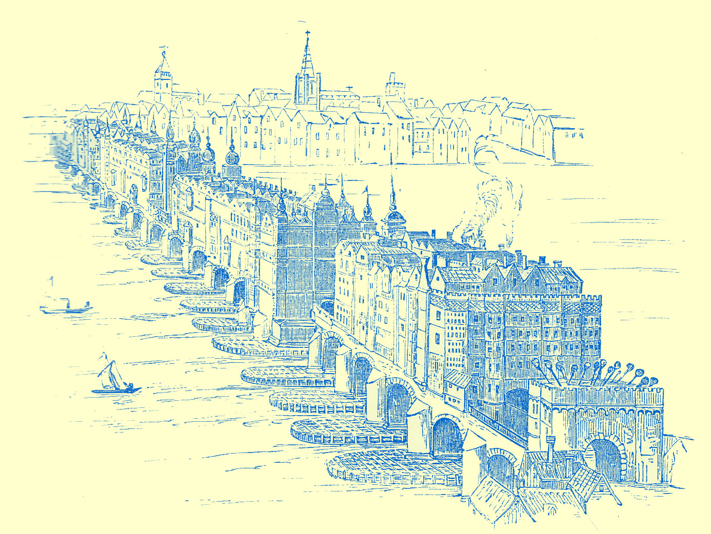 An Engraving of the old London Bridge with many multi-storied buildings crowded all along it.  It is shown over the River and the town of London is shown in the distance.