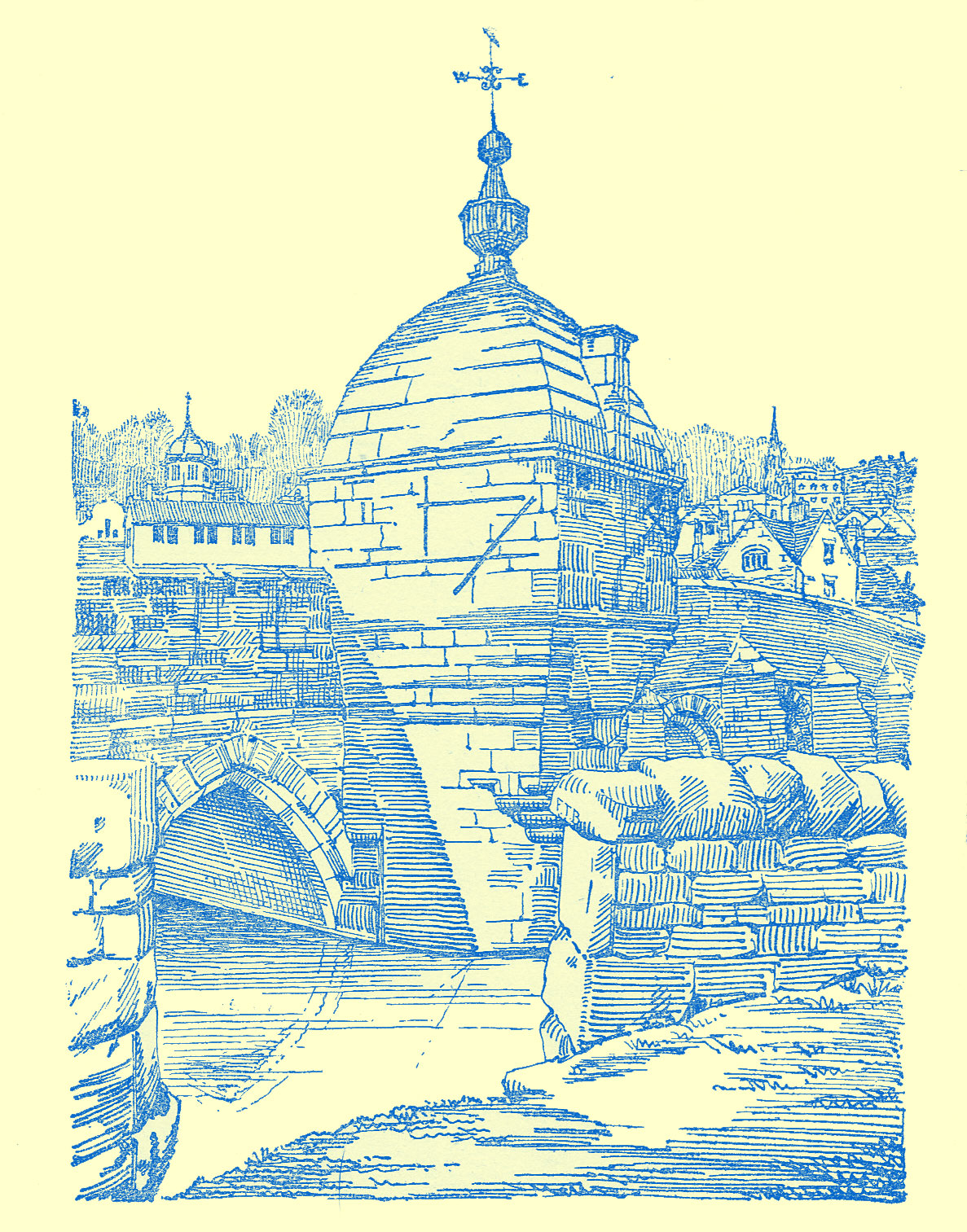 Engraving of a stone bridge, with a small domed structure built on it, topped with a weathervane.