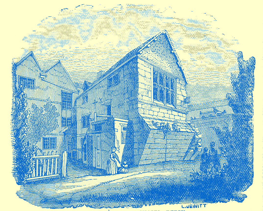 An engraving by Llewellynn Jewitt, of a cottage with a little yard, and a lady and infant in the foreground, with another strcture in the background.