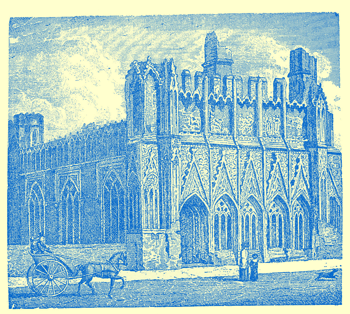 Engraving of a large gothic building, rectangular in shape, with arched doorways.  A man in a buggy is pulled by a horse, and a lady and child are on the lawn looking at it.  A small blakc dog is seen running away to the right by them.