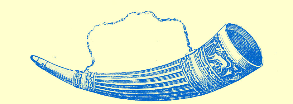 An engraving of the profile, lengthwise of the large horn, engraved with a strap above it.