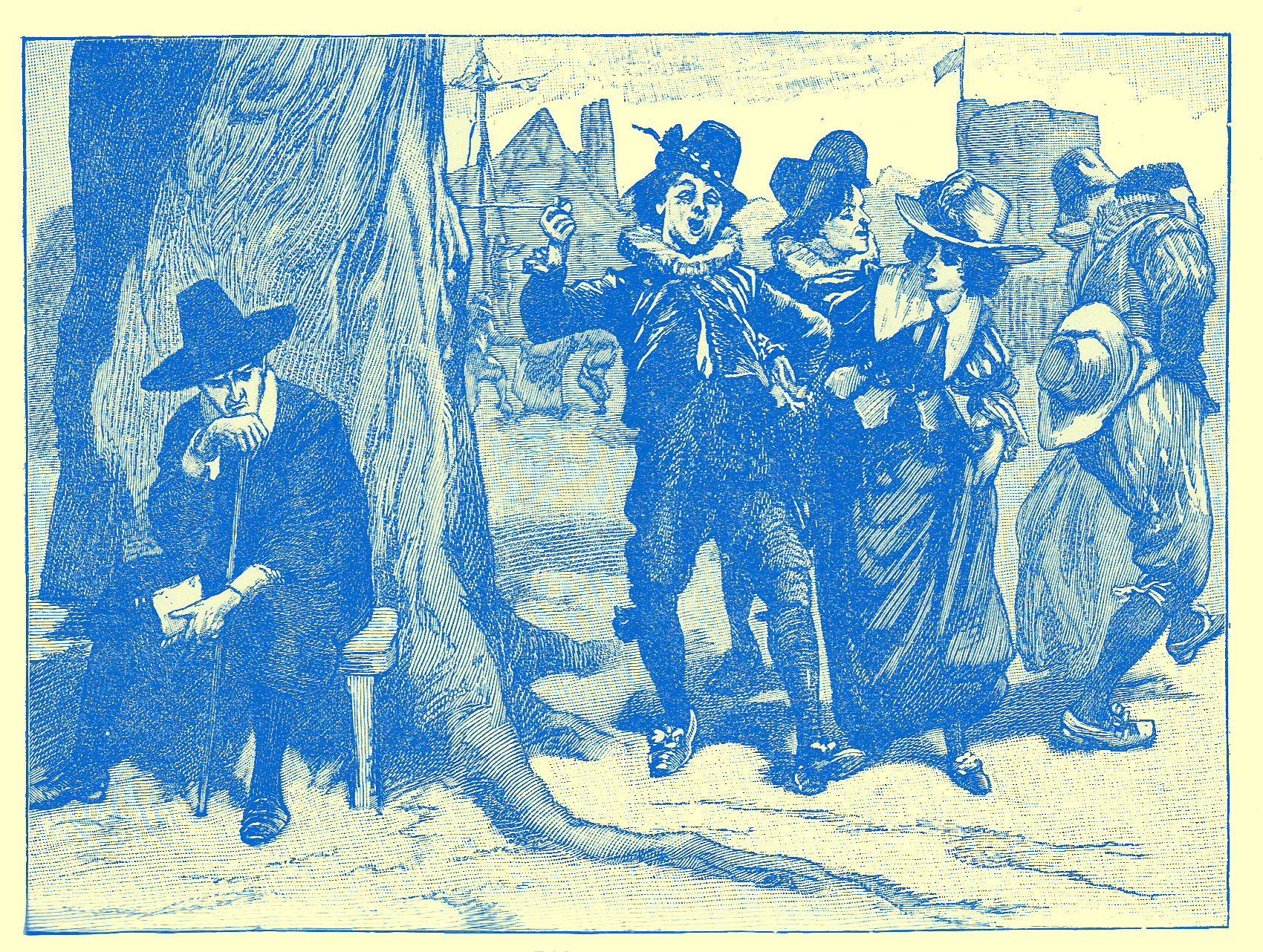 An Engraving of a frowning puritanical figure in black with a small ruff and black hat, sitting on a bench at the base of a large tree, with his hand to his mouth. Next to hom are walked a group of five people, two women and three men, with gay clothing and enjoying themselves, to appear to be dancing as they go.