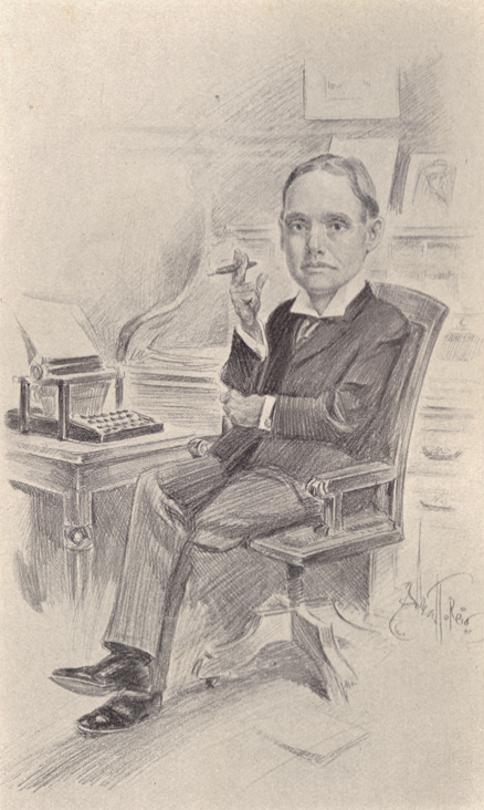 Black and white sketch by Albert T. Reid, of Elmer House, sitting smoking a cigar at his desk.