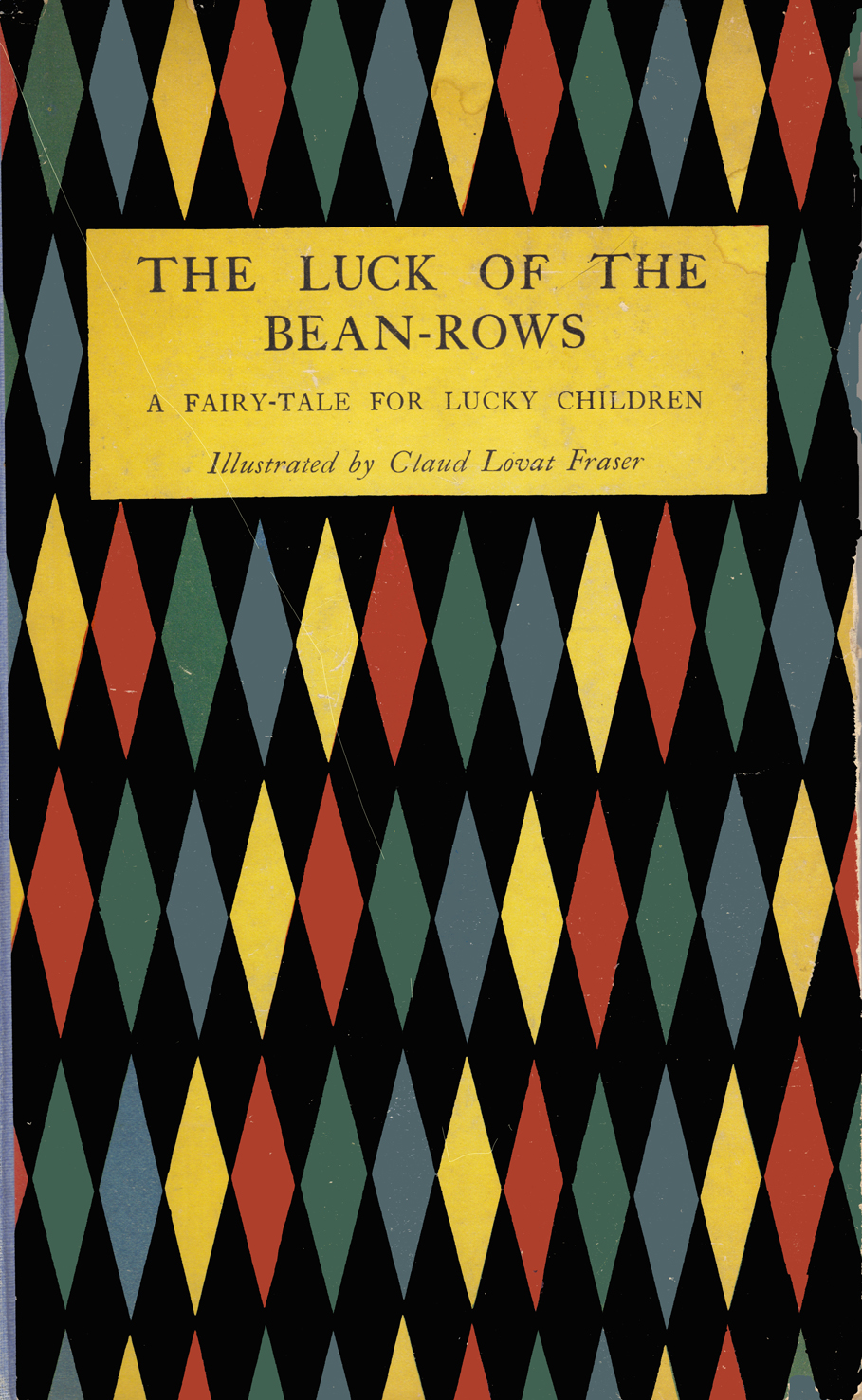 The cover, with a pattern of colored diamonds on a black background. The title is centered about a fourth of the way from the top