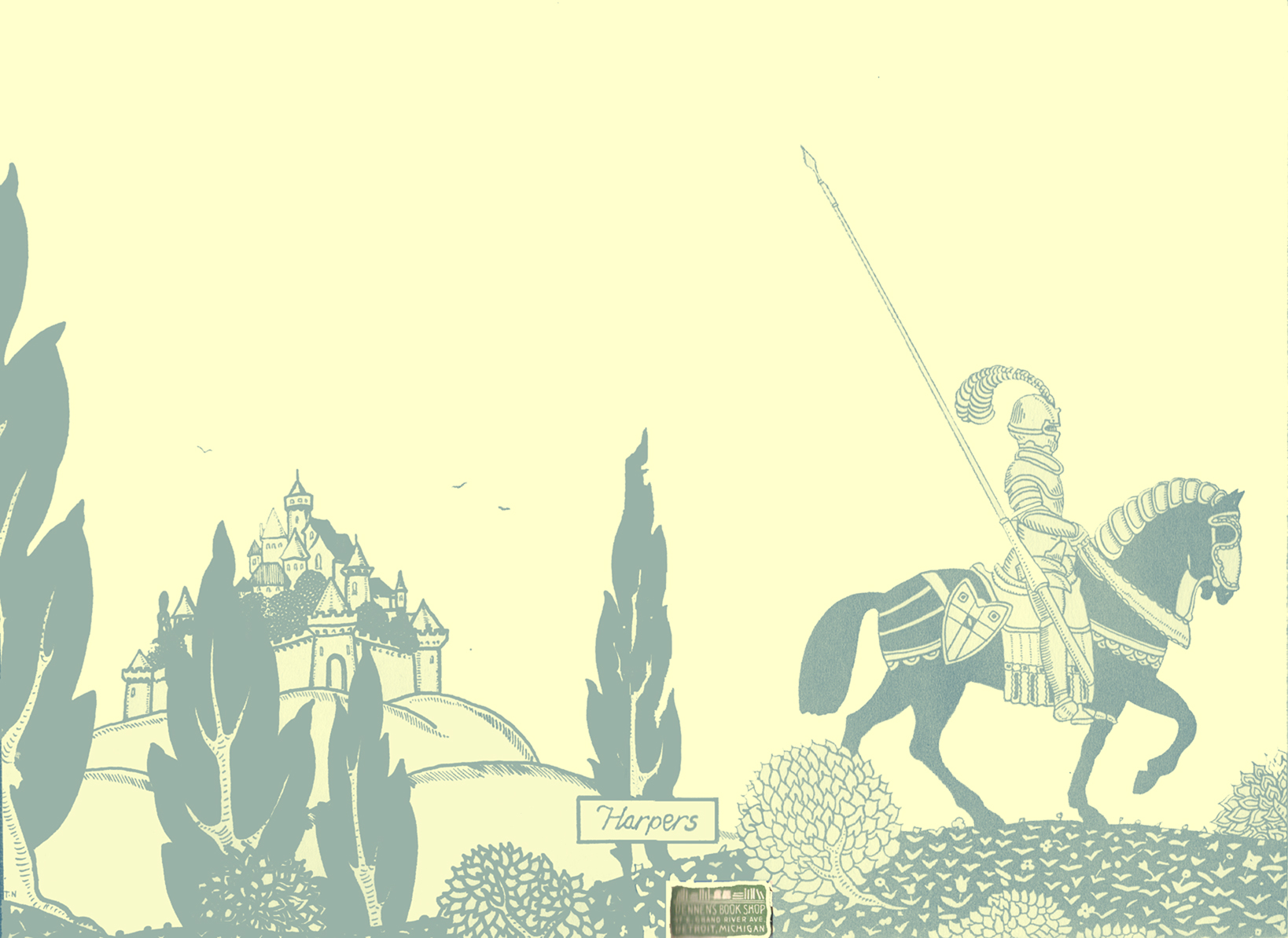 Blues and white art-deco illustration of a knight in armour on a horse, with a long jousting lance at his side.  Behind him is a walled town, with stylized trees, shrubs, and a flowered ground.