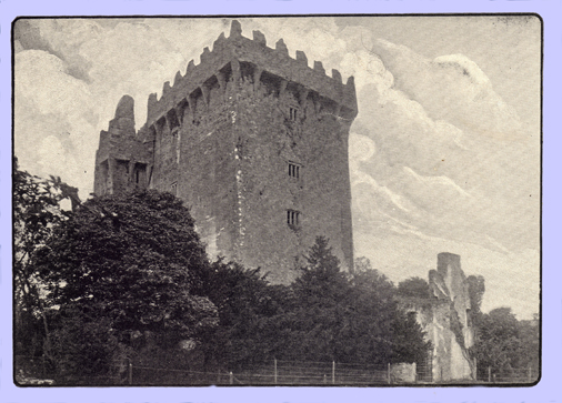 Photograph of Blarney Castle, with trees at the base and in the foreground taken before 1910.