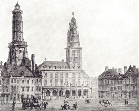 Black and white drawing of the Hôtel de Ville in Calais.  Late Renaissance in origin; built in 1740.  The Tour due Guet is on the left side of the picture. There are people in front of it, and a horse-drawn carriage.
