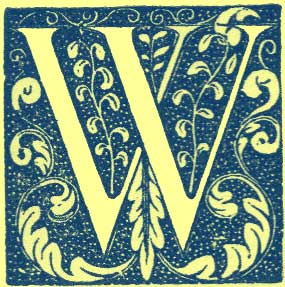 block print of capital letter W, with dark background filled with lighter leaves and vines.