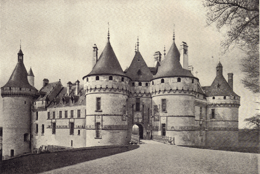 Black and white photograph of Chaumont Sur Loire, France, built in the Fifteenth Century, replacing older castles, the first of which was built in 908 by Eudes I.  Picture taken in the late 19th century.