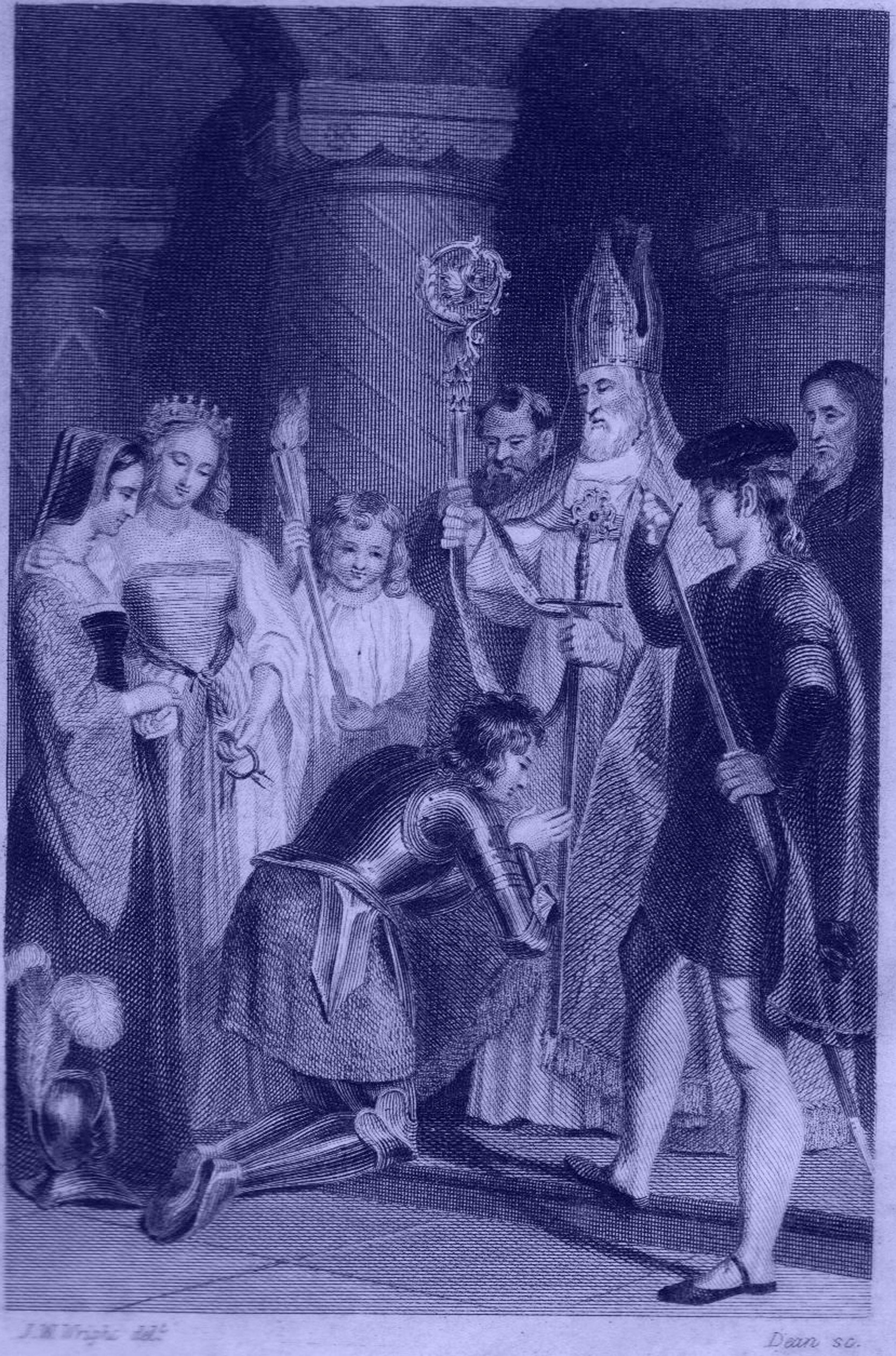 Engraving by J. W. Wright of a knight knealing beofre a mitred bishop, with women and children around him.