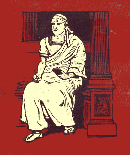 Decorated headpiece, black and white engraving on red background of part of the cover to the book with a seated Roman in a toga holding a pad.  There is a pillar beside him.