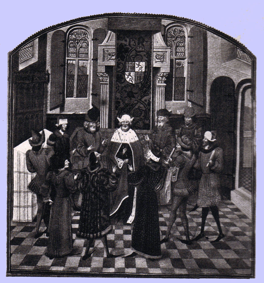Black and White picture of a manuscript illumination, a robed nobleman surrounded by his courtiers in various styles of medieval costume.