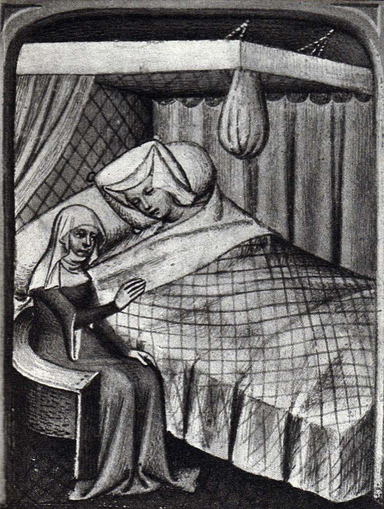 Black and White picture of a manuscript illumination, a young girl wearing a white cloth head-dress in a bed with canopy, with an older woman seated at her bedside, in a medieval gown.