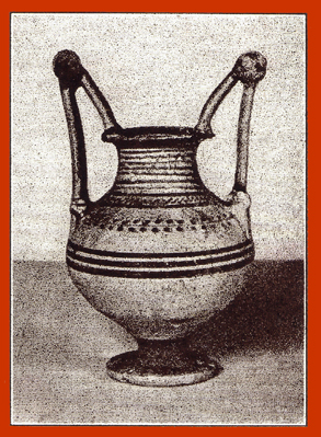 Black and white photograph of a decorated clay Messapian krater, or vase, with two handles.