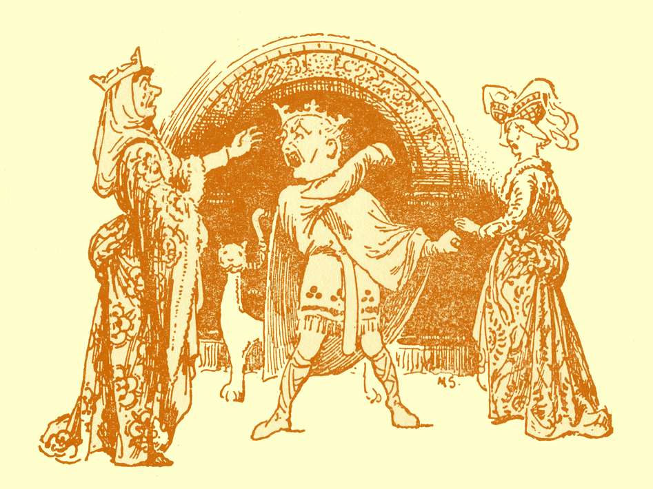 Black and white pencil sketch, by Moyr Smith, of the king arguing, with two women in gowns, one with a crown, on either side of him.