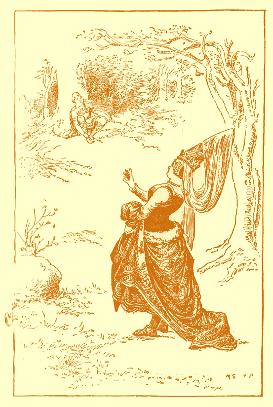 Black and white pencil sketch, by Moyr Smith, of a lady, in a long dress, with pointed hat and veil, walking in a forest toward a man sitting with a pipe in his hand.