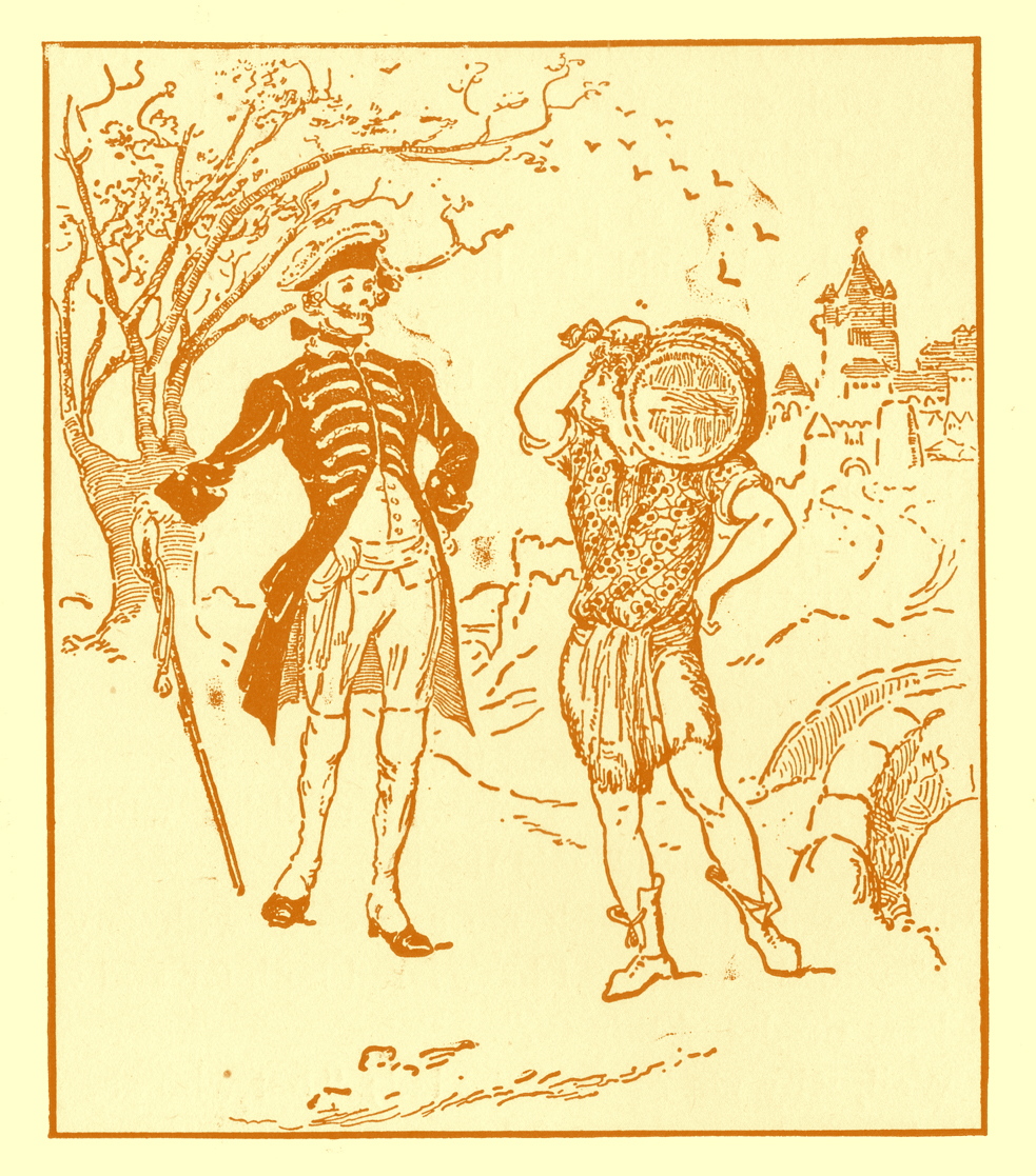 Black and white pencil sketch, by Moyr Smith, of a youth carrying a cask of ale on his shoulder, approaching a tall man, with a skull for a face, wearing garb like General Washington's, and he is holding a staff.