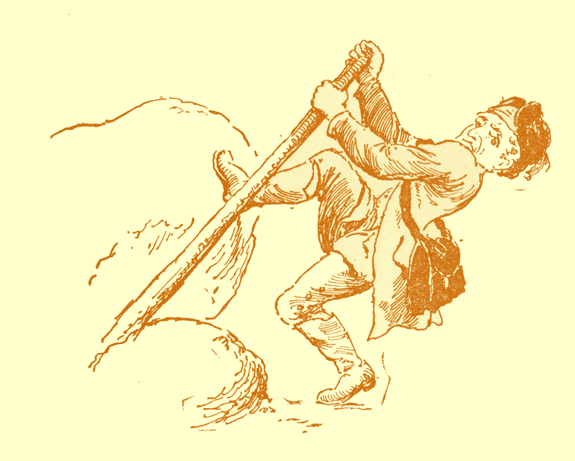 Black and white pencil sketch, by Moyr Smith, of a man using a piece of wood as a lever to lift a rock.