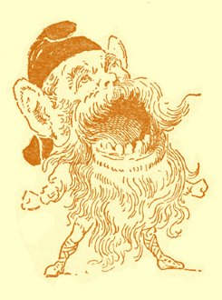 Black and white illustration, by Moyr Smith, of a brownie with a huge head on a tiny body. He is wearing a cap, has a beard down past his knees, and his mouth is wide open.